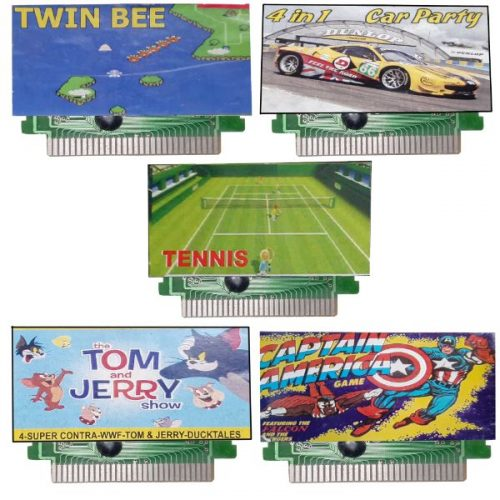 Ptcmart 8 Bit Tv Video Games Cassettes Captian America , Twinbee , Carparty , Tom-Jerry , Tennis And Many More Games Included